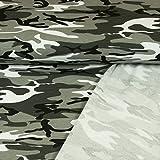 French Terry Stoff Camouflage Muster Grau 180 cm Breit Modestoff Kinderstoff Tarnmuster - Preis Gilt für 0,5 Meter