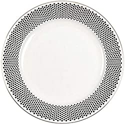 Plato Punto Negro De 10 Pulgadas. Plato Occidental Platos Individuales 2 Platos Restaurante Vajilla Plato De Desayuno Creativo De Cerámica (Color : A)