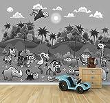 Vlies Fototapete - Kindertapete - Dschungeltiere Cartoon I - schwarz Weiss - 265x200 cm - mit Kleister - Foto auf Tapeten - Wandtapete – Vliestapete – Wanddeko