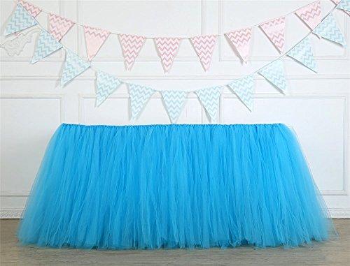 �ll-Tischrock, Tisch-Tutu, Tulle Tisch Rock für Hochzeit, Geburtstag, Baby Dusche, Prinzessin Party, Home Party Dekoration (Blau) (Pyjama-party Dekorationen)