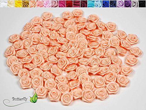 20 Stk. Satinrosen 1,5cm // Rosen 15mm Stoffrosen Satin Satinroeschen Rosenkoepfen deko Basteln Tischdeko Dekoration Streudeko Hochzeit Taufe Kommunion Blumen Applikationen, Farbe: apricot 714