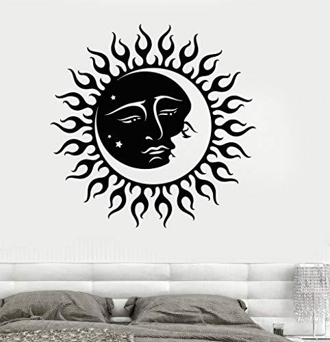 JXYY Sonne und Mond Sterne Wandaufkleber Vinyl Wandtattoo Kinder Schlafzimmer Raumdekoration Wandaufkleber Persönlichkeit Kreative Tapete SA221 57x57 cm - Badezimmer Und Mond Sonne Sterne