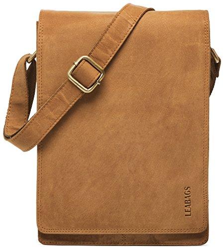 LEABAGS Dover Umhängetasche Schultertasche 10 Zoll Tablets aus echtem Leder im Vintage Look, (LxBxH): ca. 20 x 7 x 26 cm - Braun