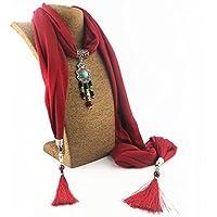 Yxzn Style ethnique Pendentif Collier Femme Écharpe