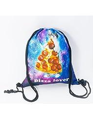 21fcd4ff38 Premium Pizza Lover cat 3d Print Hipster Stringbag Custodia Turn sacchetto  juta Gatto lo sport Gym