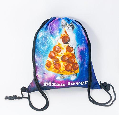 Premium Pizza Lover Cat 3D Print Hipstertasche Turnbeutel Jutebeutel Katze Sporttasche Stringbag Gym Bag Kordelsack Rucksack Groß Faltbar