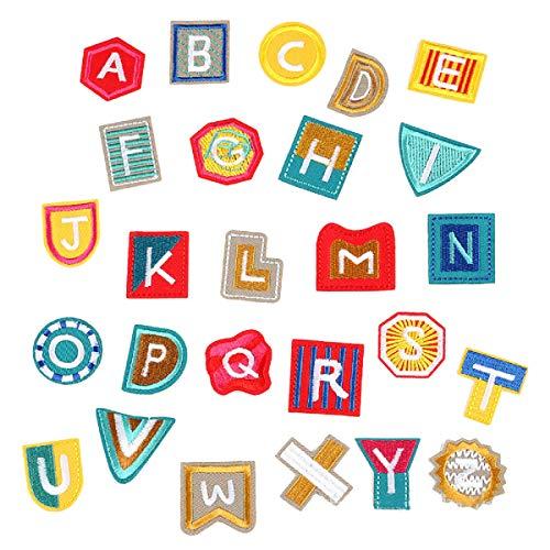 Yalulu 26 Alphabet Buchstabe A bis Z Patches - gesticktes Eisen auf oder Nähen auf Aufnäher Bügelbild Aufbügler DIY T-Shirt Jeans Kleidung Taschen zum Aufbügeln (Buchstaben Auf Nähen Gestickte)