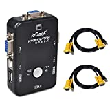 ieGeek KVM Umschalter 2 Port USB KVM Switch Box mit 2 VGA Kabel für PC Monitor / Tastatur / Maus-Steuerung- Schwarz