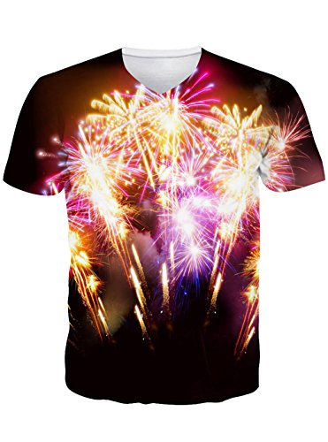 Leapparel Herren 3D Druck Feuerwerk Grafik Sommer Casual Kurzarm T-Shirt Tee (Über T-shirt Tee)
