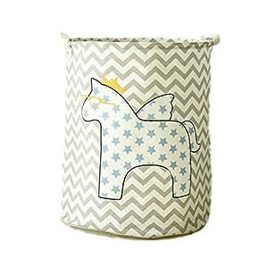 LifenewBaby, contenitori cilindrici in tela di cotone per la casa raffiguranti animali dei cartoni animati, contenitori portaoggetti, giocattoli per bambini, portabiancheria pieghevoli, 40 x 50 cm, raffigurante un cavallo, Tessuto, Hippo, 40*50
