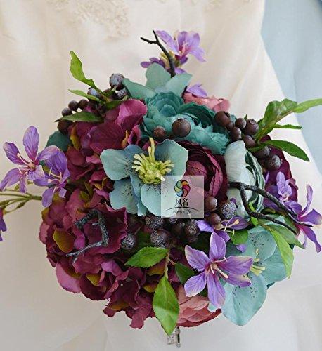 Yxhflo Emulation Blume Blumen Hochzeit Jugendstil Idyllische Blau-Violett Brautsträuße Von Uniteds Hände Miss Lin Graue Pappteller Und Servietten