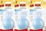 NUK 10107032 Brusthütchen Silikon zum Schutz empfindlicher Brustwarzen, Größe L, 2 Stück, inklusiv 1 Schutzdose, 3er Pack