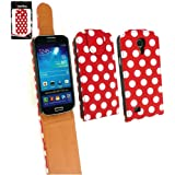 Emartbuy ® Samsung Galaxy S4 Mini I9190 Premium-Pu-Leder Flip Case / Cover / Tasche Polka Dots Rot / Weiß Und Lcd Screen Protector