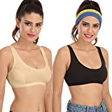 #7: Sona Sports Bra For Gym & Yoga Sport Top Skin & Black Cotton Non-Padded Sports Bra (pack of 2)