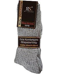 6 Paar Norweger Socken ohne Gummi Diabetikersocken Wolle Ohne Gummizug Plüschsohle (43-46, Grau)