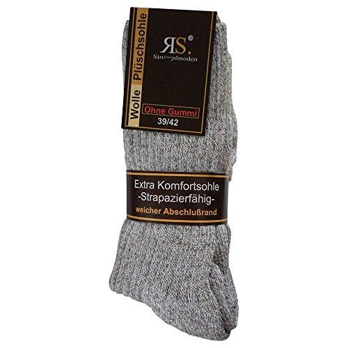 6pares de calcetines calcetines Noruego sin goma diabéticos lana sin goma elástica. Suela de felpa Multicolor gris