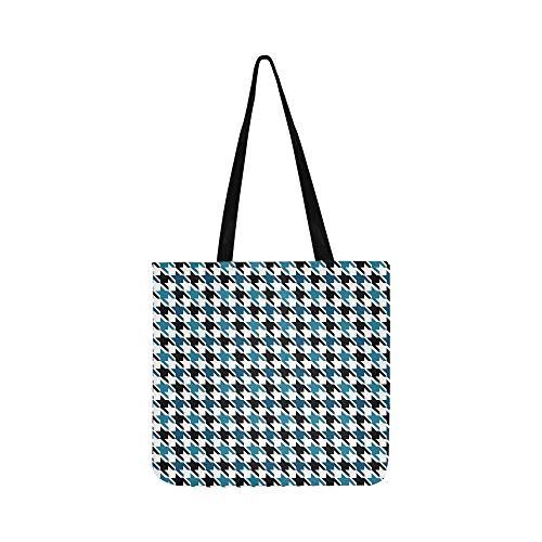 (Blau Schwarz Houndstooth Design Leinwand Tote Handtasche Umhängetasche Crossbody Taschen Geldbörsen Für Männer Und Frauen Einkaufstasche)