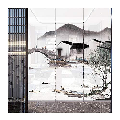 Estor Enrollable 3 Piezas Cortina Decorativa Retro Translúcido Pintura De Paisaje Sombras Romanas, 3 Colores (Color : B, Size : 300x200cm)