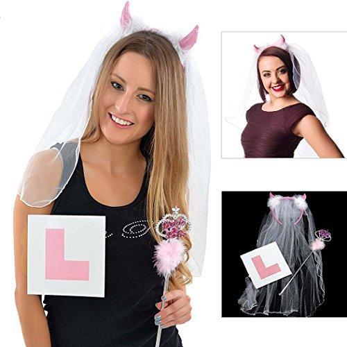 l Horn Set Horn Kopf Schnalle mit Schleier Braut zu Zauberstab, Pink L Karte Party Zubehör Set (Elvis-hund Halloween-kostüme)