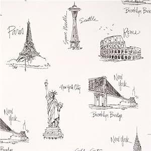 Tissu Robert Kaufman blanc, la Tour Eiffel, sites de Paris, Londees City Chic 2