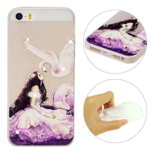 Coque iPhone 5 Doux TPU, iPhone 5S Noctilucent Case, iPhone SE Arrière Etui, Moon mood® Ultra Mince 4.0 pouces Soft Flexible Souple TPU Étui Luminous Rhinestones Housse iPhone 5 5S SE Téléphone Cellul 2 Style-4