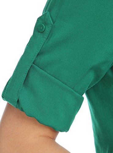 oodji Ultra Damen Viskose-Bluse mit Verstellbaren 3/4-Ärmeln Grün (6E00N)