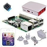 Raspberry Pi 3 Modell B - Starterkit weiß - Bestehend aus: Raspberry Pi 3, offizielles Raspberry Pi Netzteil 5,1V / 2,5A, offizielles Raspberry Pi Gehäuse weiß/rot, SanDisk 16GB Class 10 MicroSDHC Speicherkarte bespielt mit dem NOOBS Betriebssystem + Adapter, Premium CPU Kühlkörper by avc-shop
