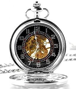 Infinite U Alta calidad Corazón Color Plateado Telaraña Hueco Esqueleto Acero Reloj de bolsillo mecánico por Infinite U
