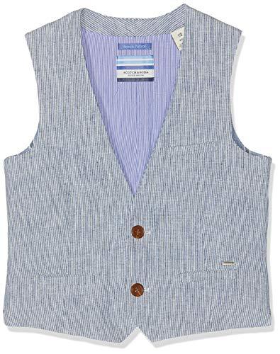 Scotch & Soda Shrunk Jungen Weste Cotton Linen Gilet Mehrfarbig (Combo X 603) 140 (Herstellergröße: 10)