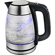 TKG Digitaler Glaswasserkocher mit regelbarer Temperatur in 5 Grad C-Schritten und blauer LED-Innenbleuchtung, 1.7 L, 2200, glas / edelstahl