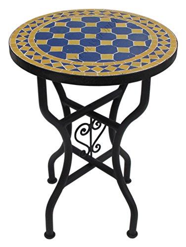 Marokkanischer Mosaiktisch Rund Ø 40 cm Blau-Gelb -
