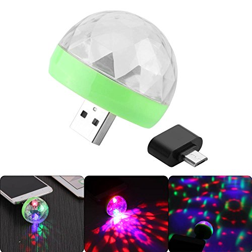 OurLeeme Mini 4-LED Disco Ball USB Stage Licht RGB Stage Dekoration Projektor Rotierende Discokugel für Party Urlaub Dekoration mit Android Anschluss
