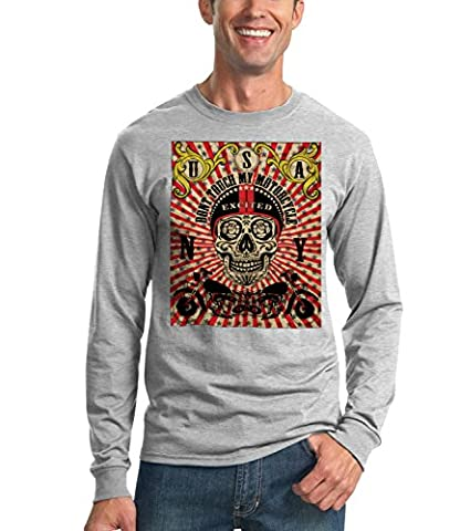 Billion Group   Skull Bike Rider   City Collection   Men's Unisex Sweatshirt Gris Large