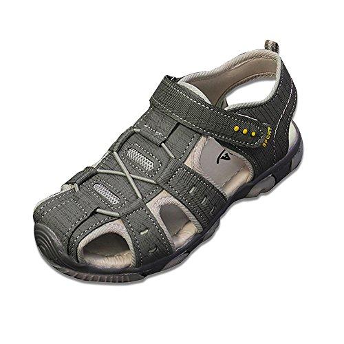 Jungen Sommer Sandale, BAINASIQI Kinder Outdoor Sport Sandale Ultraleicht Breathable Lauflernschuhe mit Klettverschluss (EU26, hellgrau)
