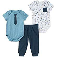 Calvin Klein Baby Boys 3 Pieces Creeper Pant Set