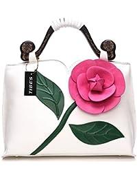 Tibes Faux cuero floral de la boda del monedero parte superior de la tarde mano bolso de mano