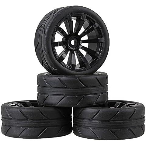 Youzone RC 1:10 Negro Flecha Patrón Neumático de caucho y de plástico de 12 mm Hex negras de 10 radios Ruedas llantas para On carretera coche de carreras (paquete de 4)