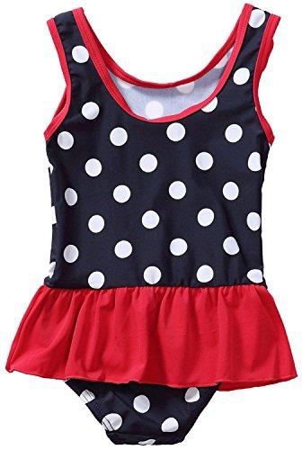 Attraco Baby Schwimmanzug Mädchen Einteiler Baby Badeanzug Polka Dots Badebekleidung Baby Dunkelblau 18-24 Monate