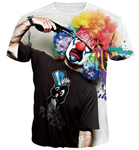 Cousin canal uomo casual 3d estate t-shirt top manica corta tees (xxxl, clown)