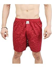 NeskaModa Men's Premium Elasticated Cotton Red Boxer With 1 Back Pocket