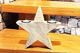 Kamaca Massiver LED Holz - Stern, inkl. 2 LED - Kerzen wunderschön für die Dekoration im Haus, Wintergarten oder Terrasse, für Den Schreibtisch, Tisch, Fenster, Schrank, Treppe, Haustür