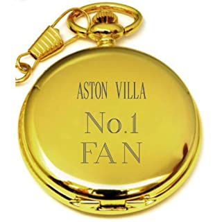 PERSONALISED GOLD ASTON VILLA POCKET WATCH PW92 CAN BE PERSONALISED ENGRAVED FREE