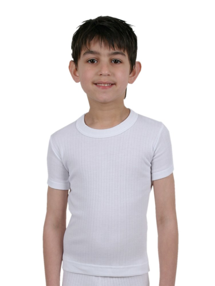 Boys Thermal Underwear Short Sleeve Vest White: Amazon.co.uk: Clothing