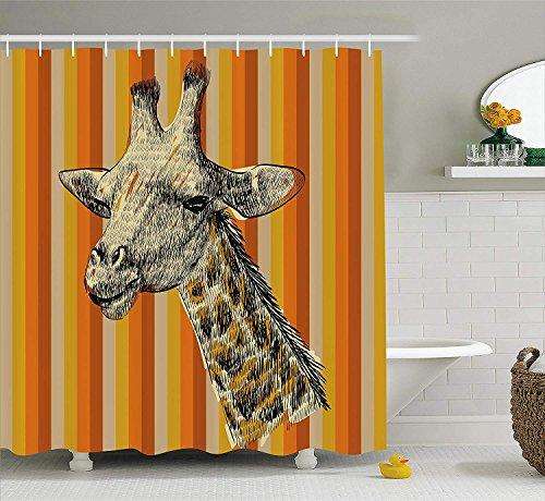 er Curtain Set, Sketch Style Portrait of a Giraffe Hipster African Animal Zoo Safari Wildlife Themed Art, Fabric Bathroom Decor with Hooks, 60 * 72inchs Long, Multi ()