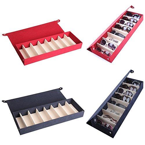 Primetraders blueee-Speicher-Netz-Kiste Box für Brillentypen Sonnenbrille Brille, 8Fächer, mit 48,5x 17.5x 6cm -
