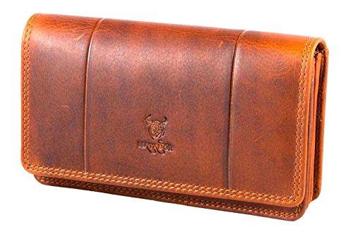 MATADOR ECHT Leder Langbörse Geldbörse Geldbeutel Damen Frauen Portmonee RFID Antik Vintage Braun (Frauen Geldbörse)