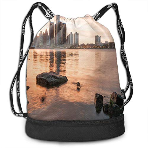 nbvnc Cinch-TascheTurnbeutelDrawstring Backpacks Bags,Idyllic Sunset View with High Rise Buildings Riverfront Rocks Calm Peaceful,Adjustable Light Casual Daypack for Shopping Sport Yoga -