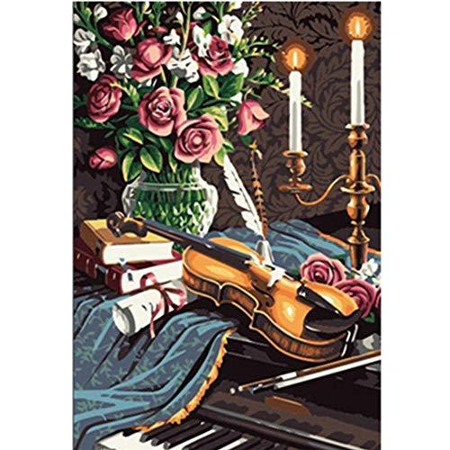 PAINTINGLEE Art New Malen nach Zahlen für Erwachsene Kinder-Violine Vase Blume 16 * 20 Zoll Leinen Leinwand (kein Rahmen) - DIY Digital Painting by Numbers Kits auf Leinwand