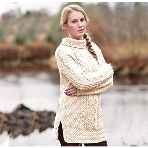 Aran Tunic Sweater With Vented Roll Neck Natural (Pullover Reinigungs-wolle)