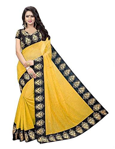 Clothfab Cotton Saree With Blouse Piece (Clt1540-Sari_Yellow_Free Size)